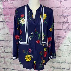Joie 100% silk navy floral button down blouse XS